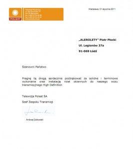 Referencje Polsatu dla ALEROLET