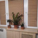 Opuszczone żaluzje drewniane w pokoju